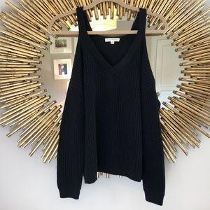 LA Hearts Off The Shoulder Black Ribbed Sweater